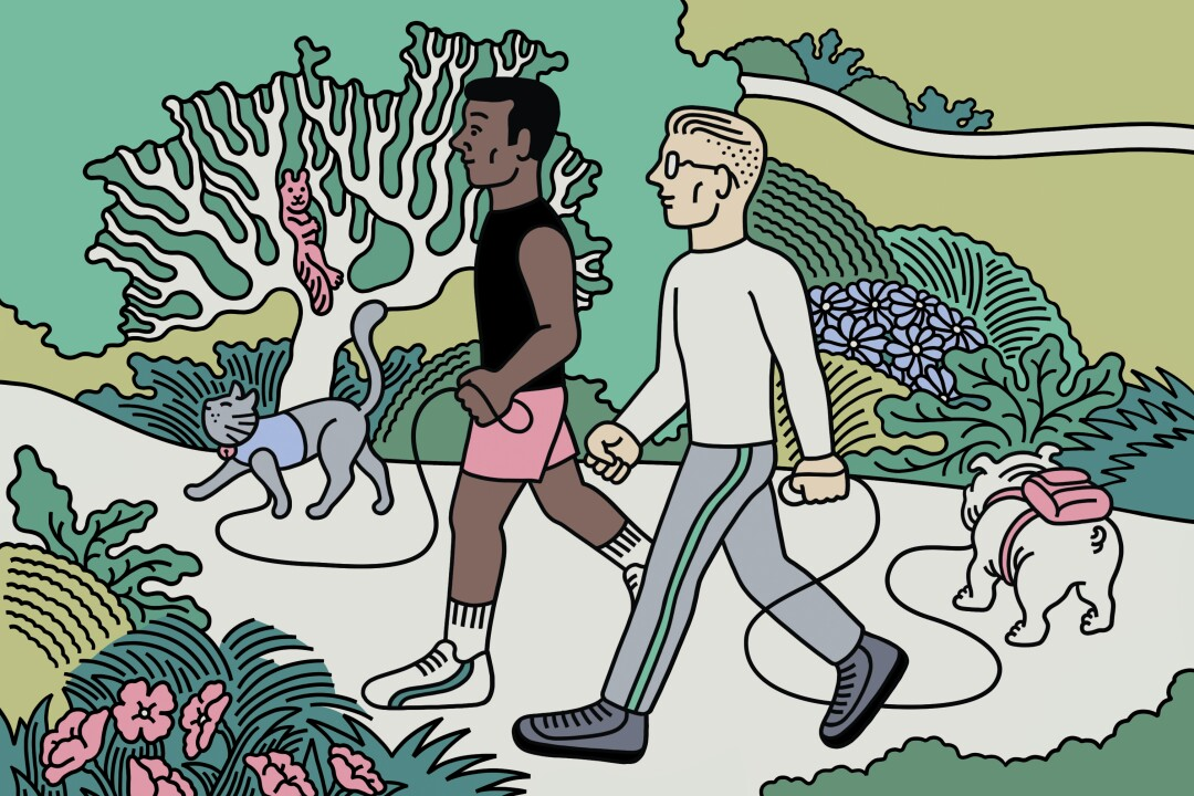 An illustration of two men hiking with their pets on leashes
