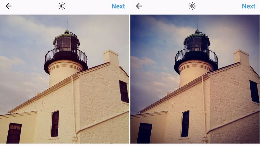 Instagram filters Valencia, left, and X-Pro II, right