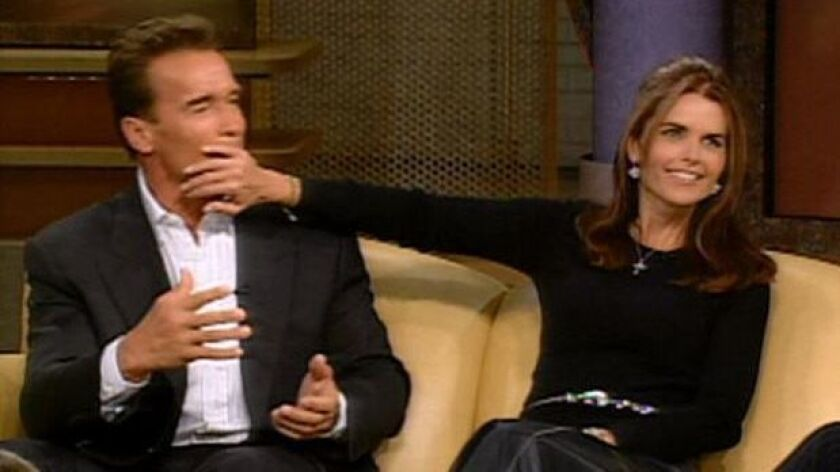"video grab of Arnold Schwarzenegger and Maria Shriver from the Oprah Show. Please credit the ""The Op"