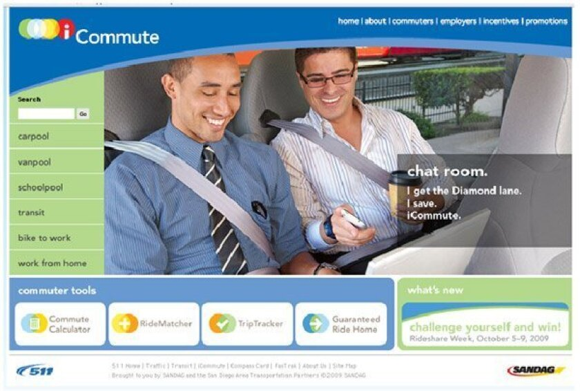 The Web site  icommutesd.com,  launched this  week by the San  Diego region's  transportation  planning agency,  matches car pool  mates and  promotes other  ways of reducing  traffic. Its debut  is timed with  Rideshare Week.