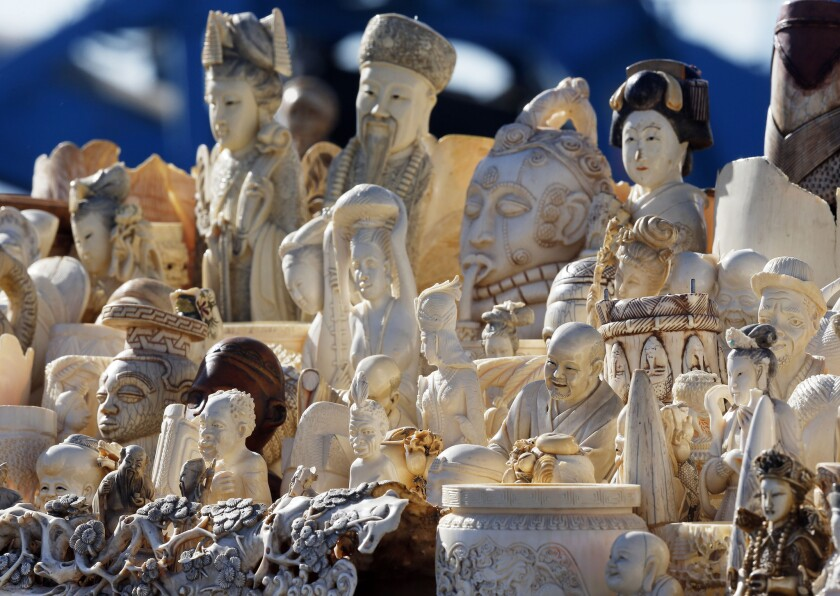 Six tons of banned elephant ivory items accumulated over the last 25 years were destroyed by the U.S. Fish and Wildlife Service.