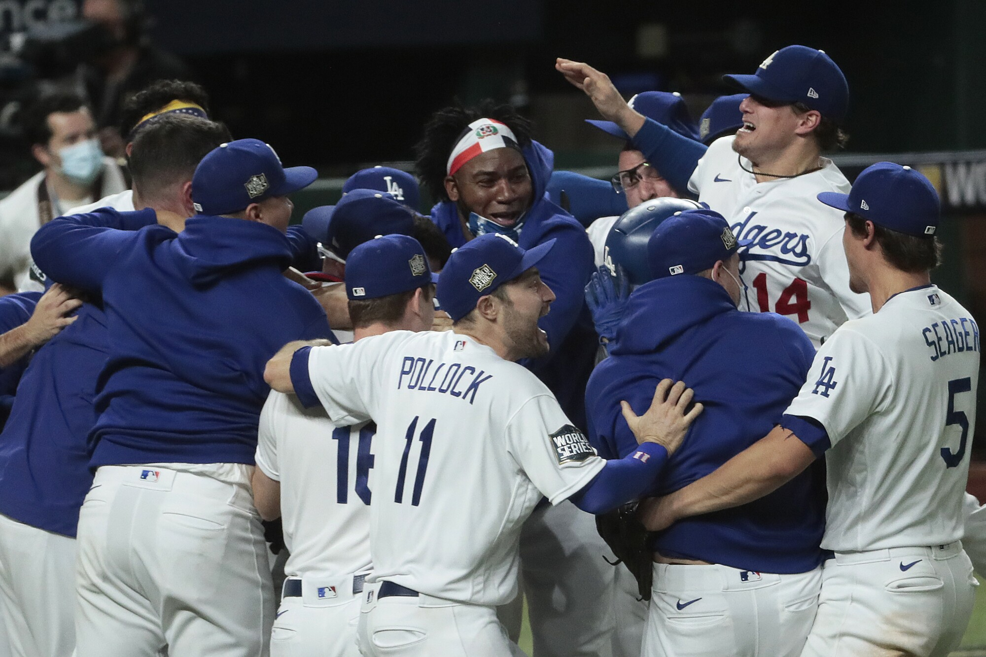 Dodgers players celebrate their World Series championship after defeating the Tampa Bay Rays.