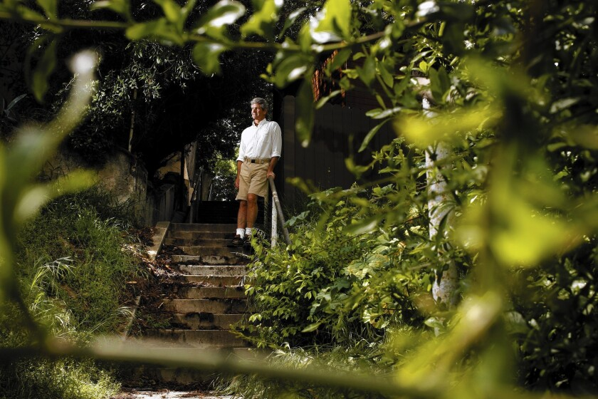 """Charles Fleming, atop one of the """"secret stairs"""" he grew to love, and write about."""