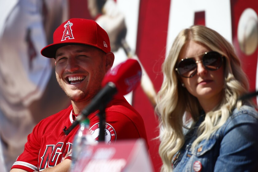 Angels star Mike Trout and his wife, Jessica.