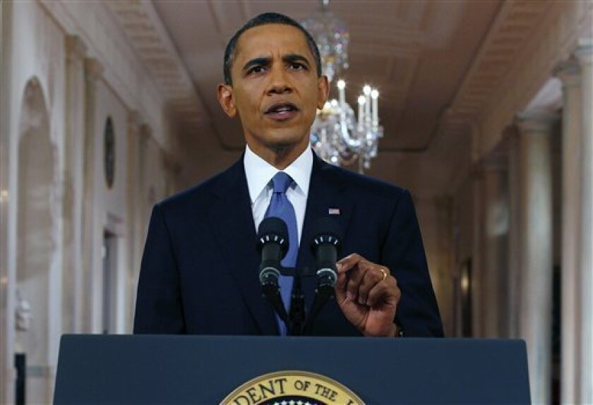President Barack Obama delivers a televised address from the East Room of the White House Wednesday on his plan to draw down U.S. troops in Afghanistan.