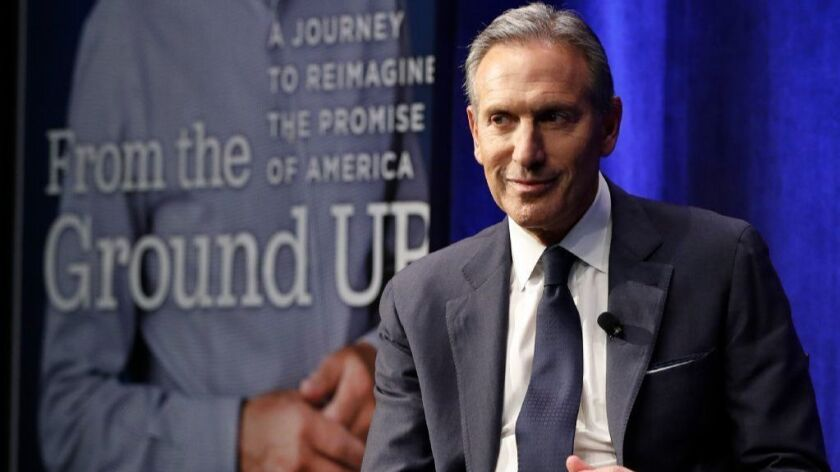 Former Starbucks CEO Howard Schultz, shown while promoting his book in New York on Jan. 28, is considering a presidential run.