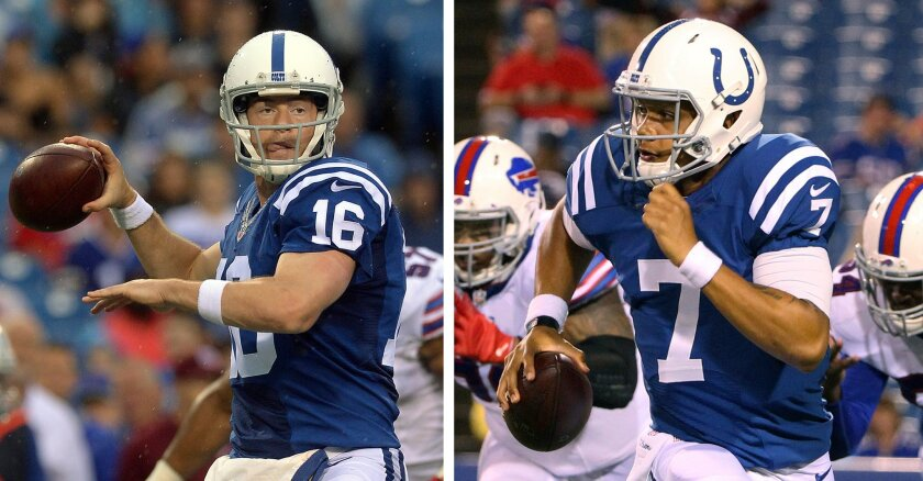 FILE - At left, in an Aug. 13, 2016, file photo, Indianapolis Colts quarterback Scott Tolzien (16) passes against the Buffalo Bills during the first half of a preseason NFL football game, in Orchard Park, N.Y. At right, also in an Aug. 13, 2016, file photo, Colts quarterback Stephen Morris (7) scra