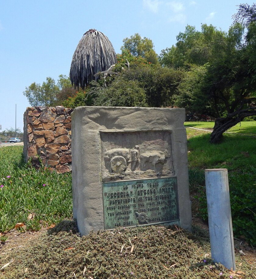 The La Playa Trail marker on Taylor Street in Presidio Park remains in its original location from 1934.