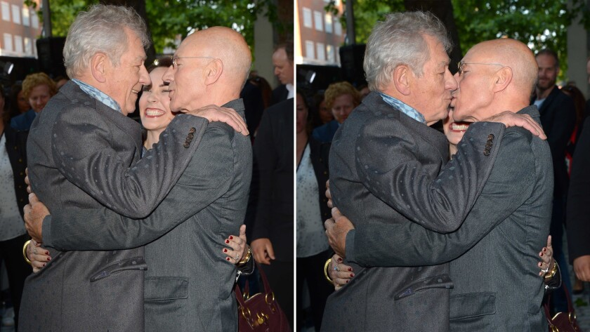 Sir Patrick Stewart and Sir Ian McKellen snog on stage at ... |Ian Mckellen Patrick Stewart Kiss