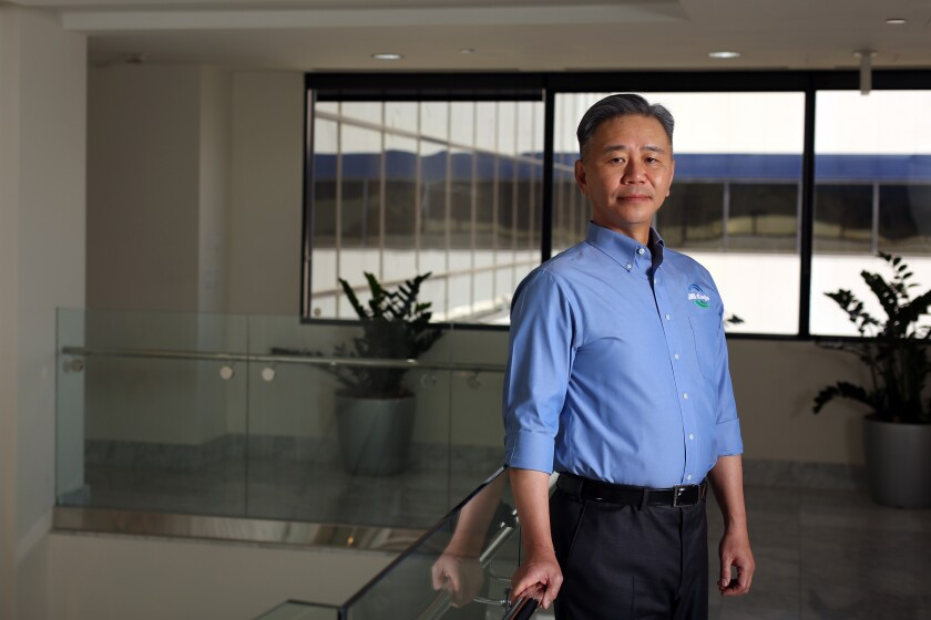 JM Eagle Chief Executive Walter Wang at the plastic pipe maker's headquarters in Los Angeles.