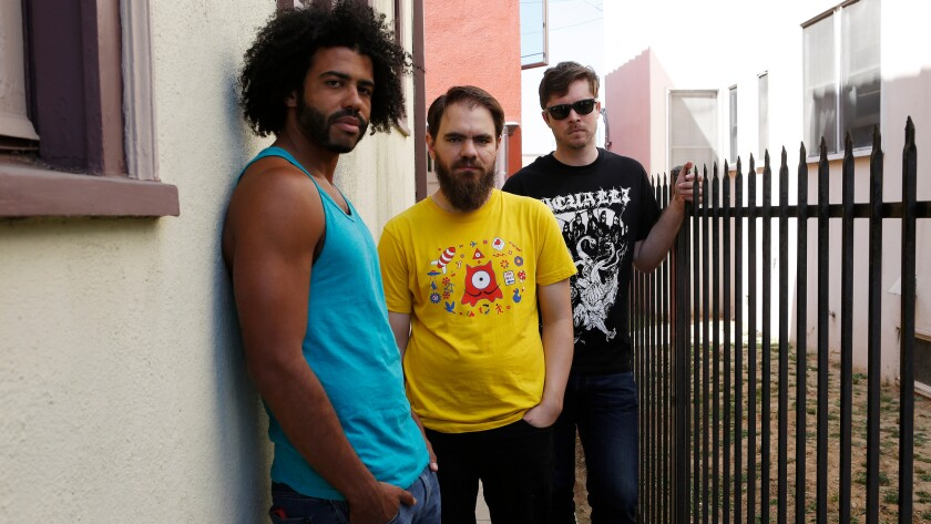 Daveed Diggs, left, Jonathan Snipes and William Hutson of L.A. rap group Clipping.