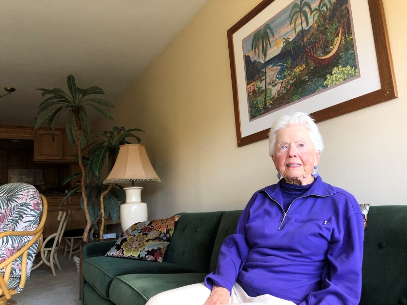 Charlotte Gumbrell, who turns 95 on Saturday, has lived in Del Mar for about 25 years.