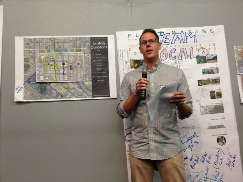"Todd Hutchens, an environmental attorney, talks about his group's ""Zocolo"" plan aimed at creating a large gathering place in southern East Village rather than a stadium."