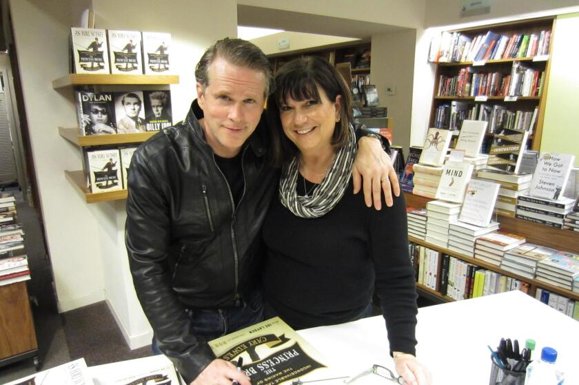 Actor/author Cary Elwes with Julie Slavinsky, head of Warwick's events department