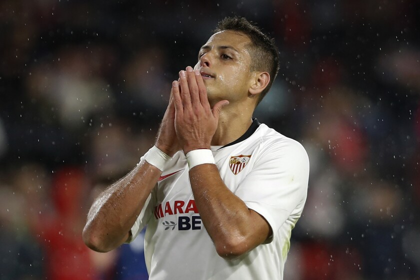 "Javier ""Chicharito"" Hernandez reacts during the Spanish La Liga soccer match between Sevilla and Levante in October."