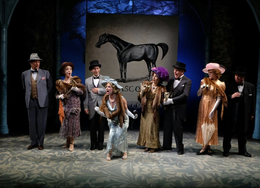 "Sean Murray, Linda Libby, Charles Evans Jr., Allison Spratt Pearce, Debra Wanger, Ralph Johnson, Katie Whalley Banville and Tom Stephenson (left to right) in Cygnet Theatre's ""My Fair Lady."""