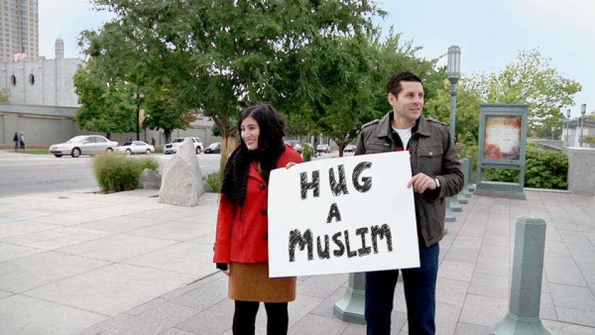 "Directors Negin Farsad and Dean Obeidallah in a still from ""The Muslims are Coming!"""