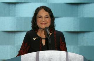 Civil rights activist Dolores Huerta speaks at the Democratic National Convention