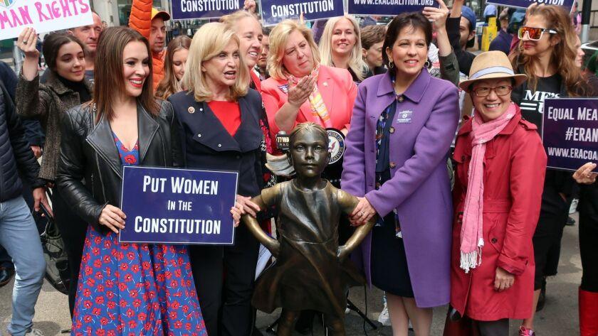 From left, actress Alyssa Milano, Congresswoman Carolyn Maloney, Assemblywoman Rebecca Seawright, Ca