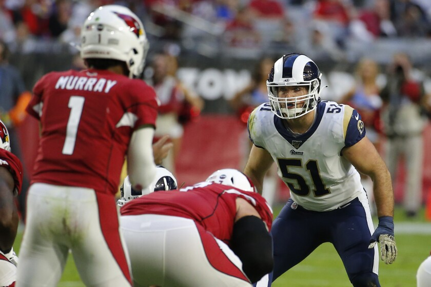 Rams linebacker Troy Reeder during a game against the Arizona Cardinals last December.