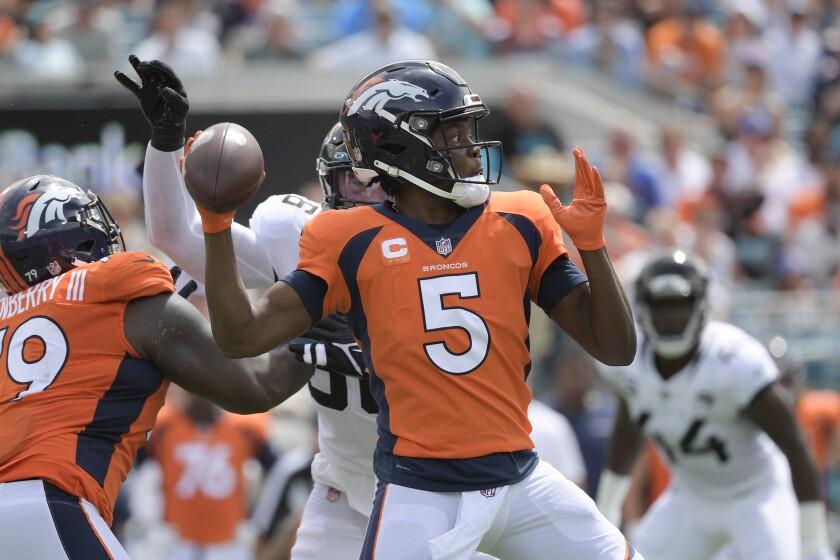 Denver Broncos quarterback Teddy Bridgewater (5) throws a pass against the Jacksonville Jaguars during the first half of an NFL football game, Sunday, Sept. 19, 2021, in Jacksonville, Fla. (AP Photo/Phelan M. Ebenhack)