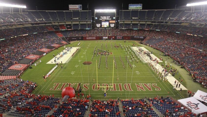SAN DIEGO, October 14, 2017 | The Marching Aztecs perform on the field before the Aztecs play Bois