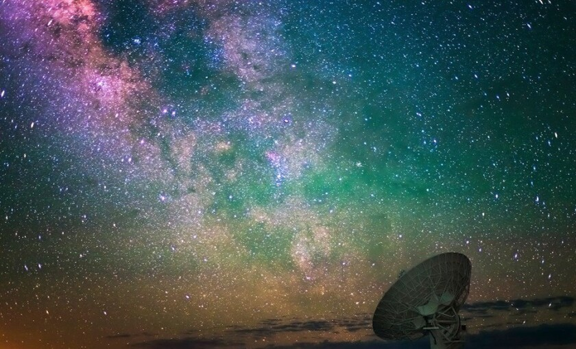Natural light in the night sky at the Very Large Array radio telescope near Socorro, N.M., is shown. A nearby observatory is hosting a stargazing weekend in April.