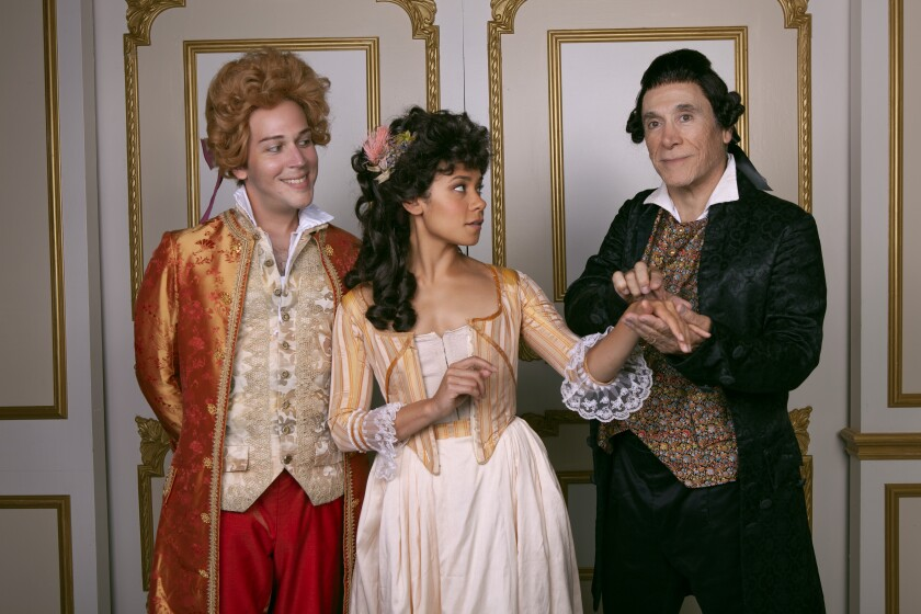 "Rafael Goldstein, Kathryn Tkel and Tony Amendola (from left) in North Coast Rep's ""Amadeus."""
