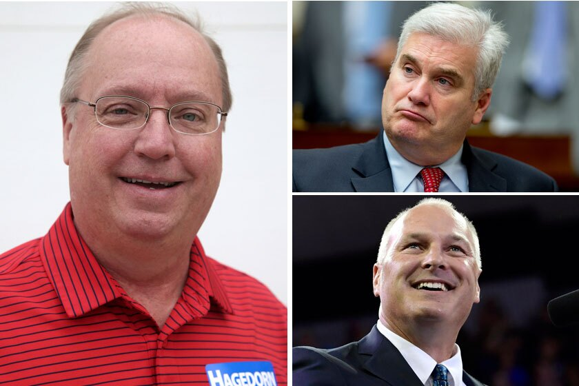 Minnesota GOP congressmen (clockwise, from left) Jim Hagedorn, Tom Emmer and Pete Stauber.