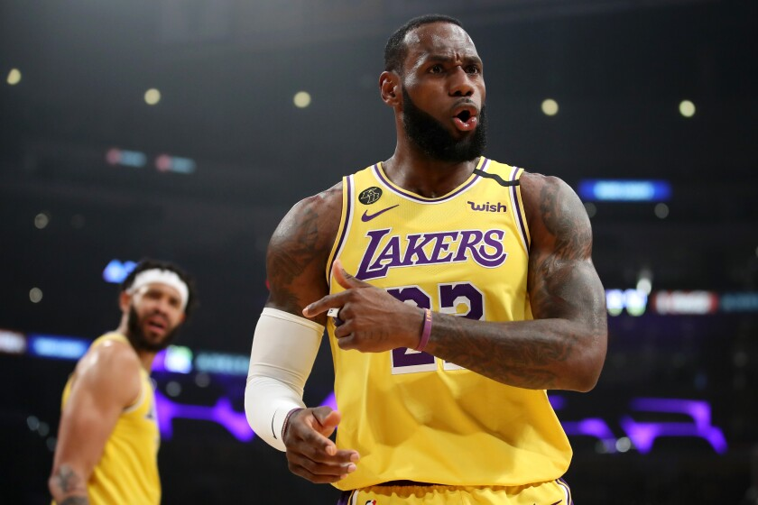 "Lakers forward LeBron James said he works on shooting from long range. ""Obviously the game is played so much at the three-point line and beyond,"" he said."