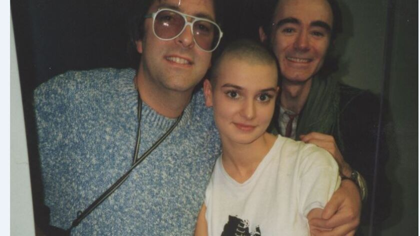 Nigel Grainge, left, with Sinead O'Connor and Irish author BP Fallon.