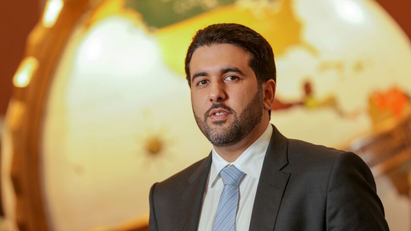 """""""Qatar does not fund terrorism whatsoever,"""" says Sheik Saif bin Ahmed al Thani, government communications director, pictured in the Globe Lobby of the Los Angeles Times."""