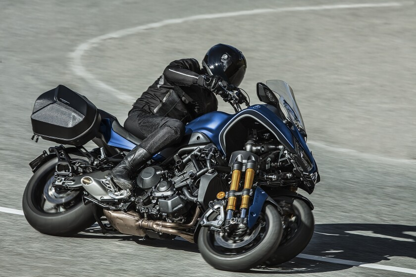 The Niken GT is a radical, three-wheeled sport-tourer powered by a 847 cc triple-cylinder engine. Pricing starts at $17,299, including ABS, traction control and three power maps.