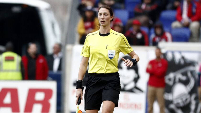 Line official Kathryn Nesbitt looks on during the first half of an MLS soccer match between Real Sal