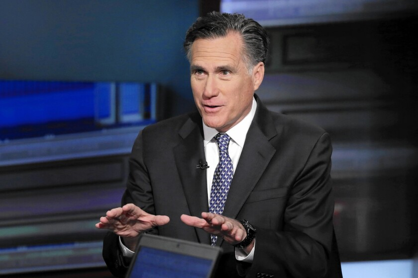 """Mitt Romney is interviewed by Neil Cavuto during his """"Cavuto Coast to Coast"""" program on the Fox Business Network on March 4. Romney forcefully denounced Trump's bid for the Republican presidential nomination."""