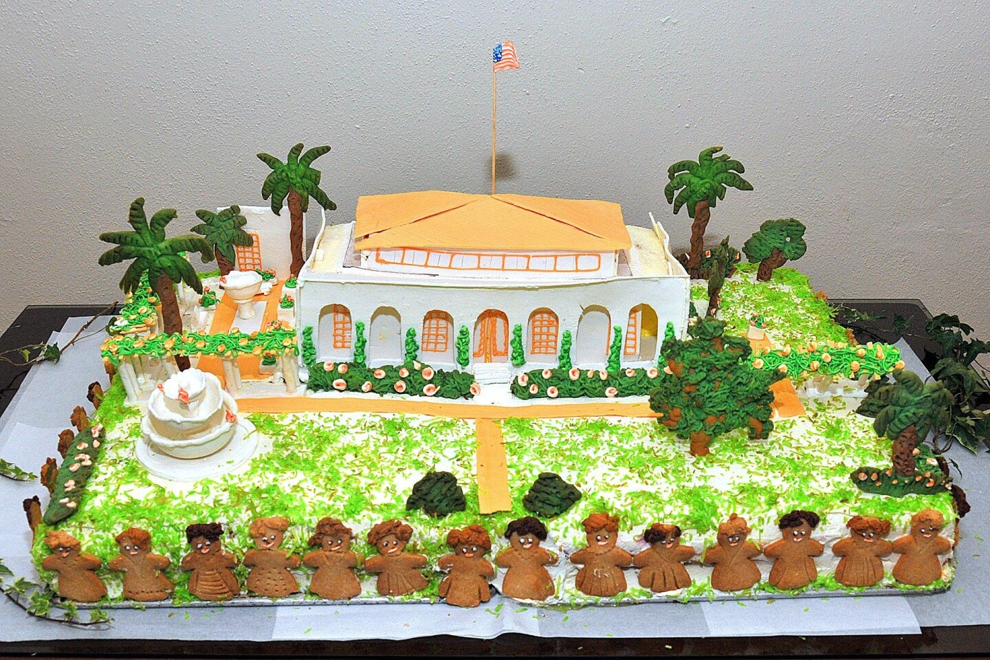 The 'birthday' cake replica of the La Jolla Woman's Club building and grounds was created by Girard Gourmet for La Jolla Woman's Club's gala celebrating the 100th year of its historic Irving Gill-designed clubhouse/building on Oct. 17, 2014.