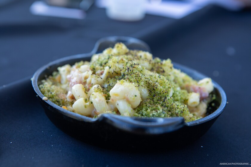 A photo of a dish at San Diego Mac & Cheese Festival