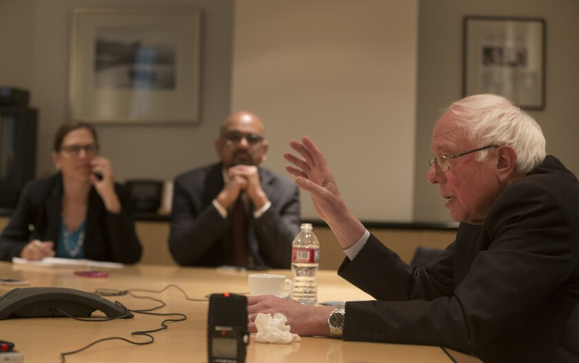 Democratic presidential candidate Sen. Bernie Sanders answers questions from members of the Los Angeles Times editorial board on March 23.