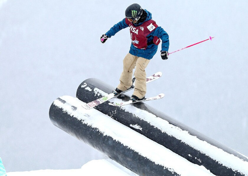 Maggie Voisin competes in the women's slopestyle finals during a World Cup event at Copper Mountain, Colo., in December.