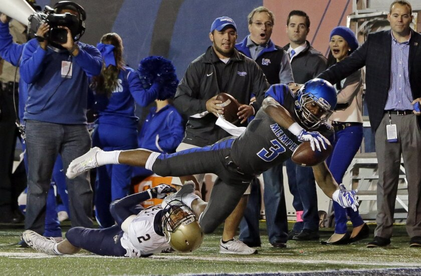 Memphis wide receiver Anthony Miller (3) gets past Navy safety Lorentez Barbour (2) to score a touchdown on an 11-yard pass reception in the first half of an NCAA college football game Saturday, Nov. 7, 2015, in Memphis, Tenn. (AP Photo/Mark Humphrey)