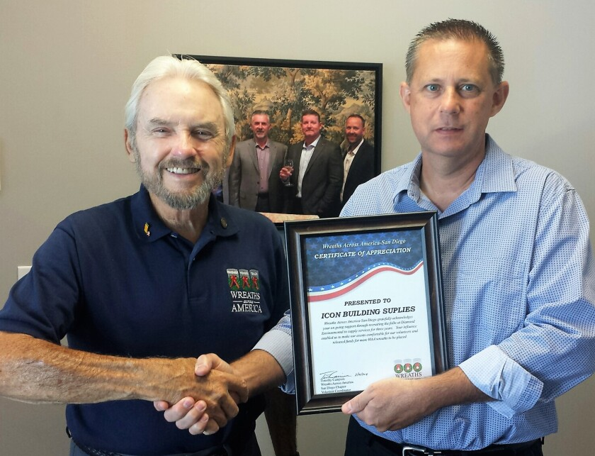Tim Campion, left, of Wreaths Across America San Diego and Carl Skaja, COO of ICON Building Supplies.