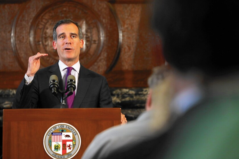 Los Angeles Mayor Eric Garcetti speaks at a news conference on the Police Commission's decision regarding the two officers involved in the Ezell Ford case.