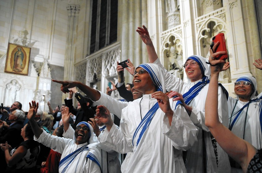 Pope Francis got an enthusiastic response from nuns Thursday at St. Patrick's Cathedral in New York.