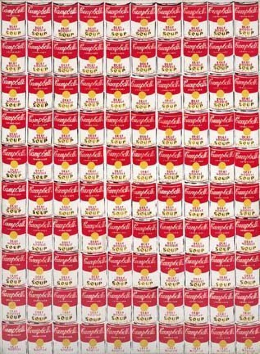 '100 Cans' (1962) by Andy Warhol is created with oil on canvas. From the collection of Albright-Knox Art Gallery, Buffalo, N.Y. Gift of Seymour H. Knox, Jr., 1963