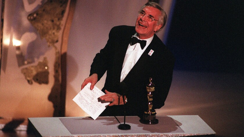 "Martin Landau (""Ed Wood"") wins Best Supporting Actor award in Oscar. 03/27/95"