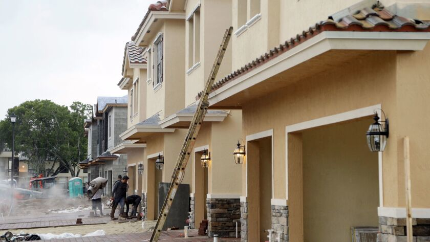 Lennar Corp. town homes under construction at Chelsea Place in Tamarac, Fla., in this September 2016 file photo.