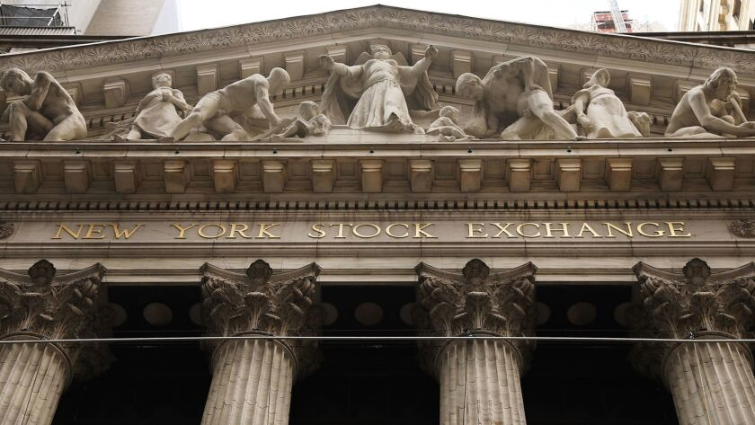 The facade of the New York Stock Exchange ion Wall Street.
