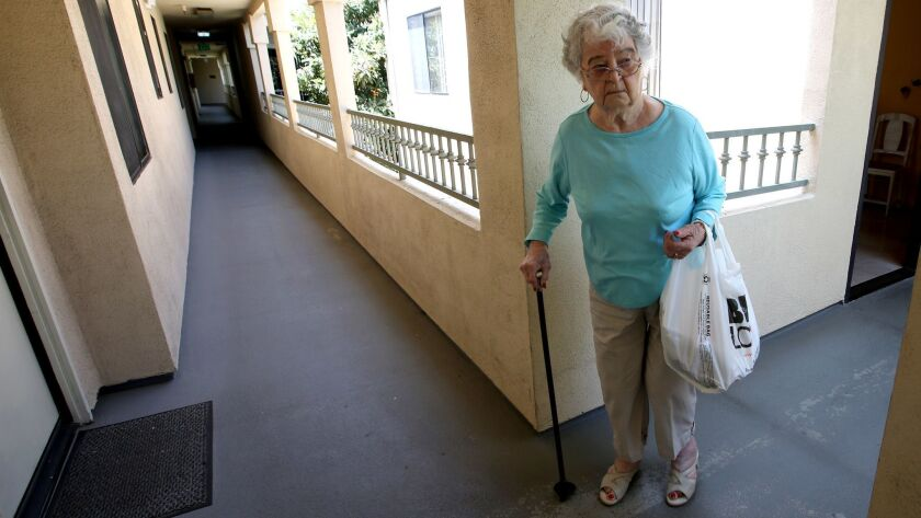 Ninety-three year old Elizabeth Malone has to walk two flights of stairs, 38 total steps and a long