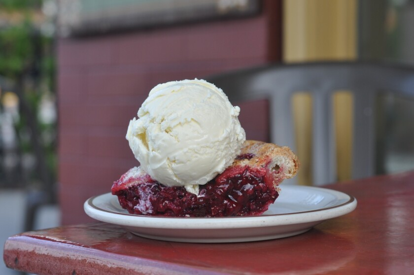 A slice of boysenberry pie with organic triple milk ice cream at the newly opened Moo on Mission in South Pasadena.