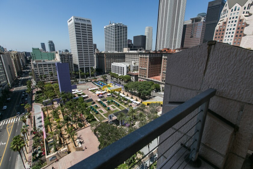An aerial view of Pershing Square.